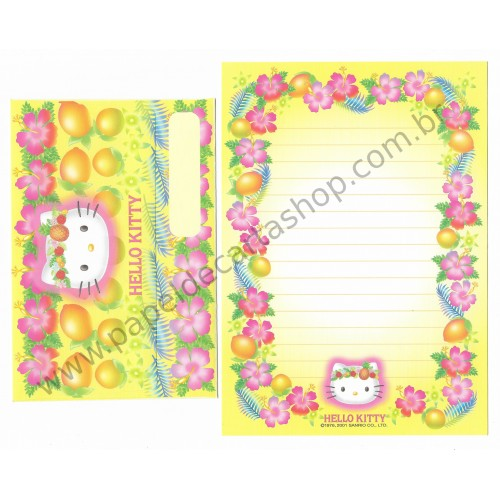 Ano 2001. Conjunto de Papel de Carta Hello Kitty Hibisco CAM Sanrio