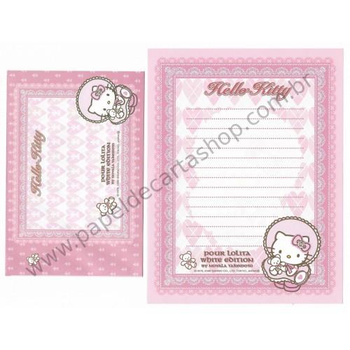 Ano 2006. Conjunto de Papel de Carta GOTOCHI Kitty Pour Lolita White Sanrio