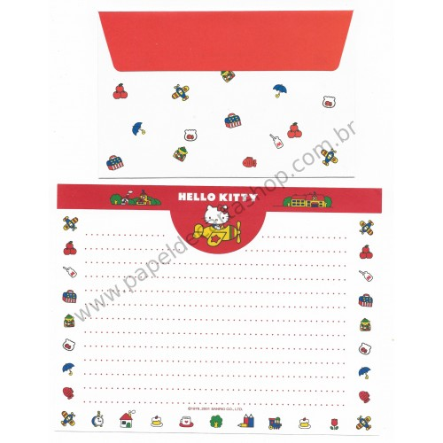 Ano 2001. Coleção de Papel de Carta Hello Kitty Airplane Sanrio