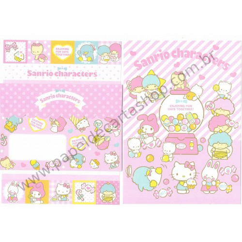 Ano 2016. Conjunto de Papel de Carta Hello Kitty & SANRIO CHARACTERS Enjoying Fun Days Together CRS
