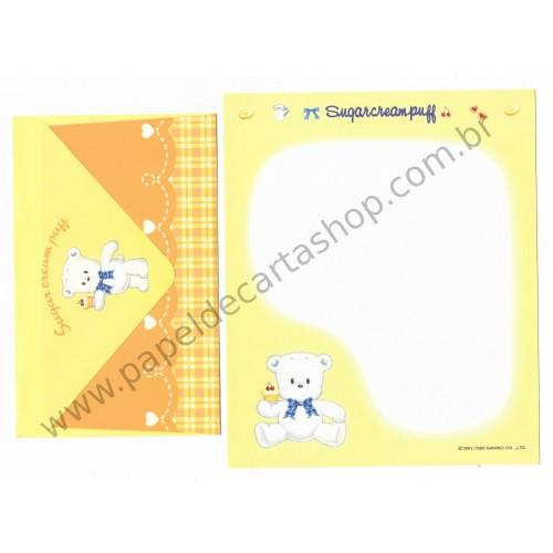 Ano 1995. Conjunto de Papel de Carta Sugar Cream Puff CAM Antigo (Vintage) Sanrio