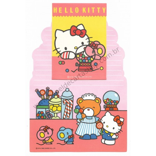 Ano 1983. Conjunto de Papel de Carta Hello Kitty Antigo (Vintage) Sanrio