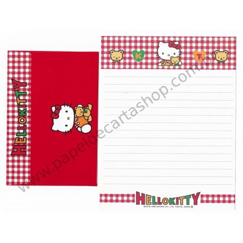 Ano 1996. Conjunto de Papel de Carta Hello Kitty Antigo (Vintage) Sanrio