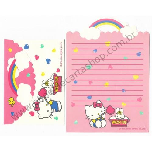Ano 1984. Conjunto de Papel de Carta Hello Kitty Antigo (Vintage) Washtub Sanrio