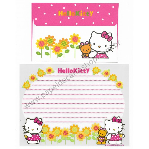 Ano 1996. Conjunto de Papel de Carta Hello Kitty Antigo (Vintage) Sunflower T Sanrio