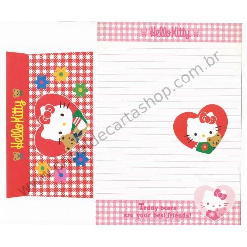 Ano 1995. Conjunto de Papel de Carta Hello Kitty Antigo (Vintage) Teddy Bears Sanrio