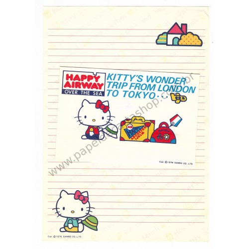 Ano 1976. Conjunto de Papel de Carta Hello Kitty Antigo Happy Airway (Vintage) Sanrio