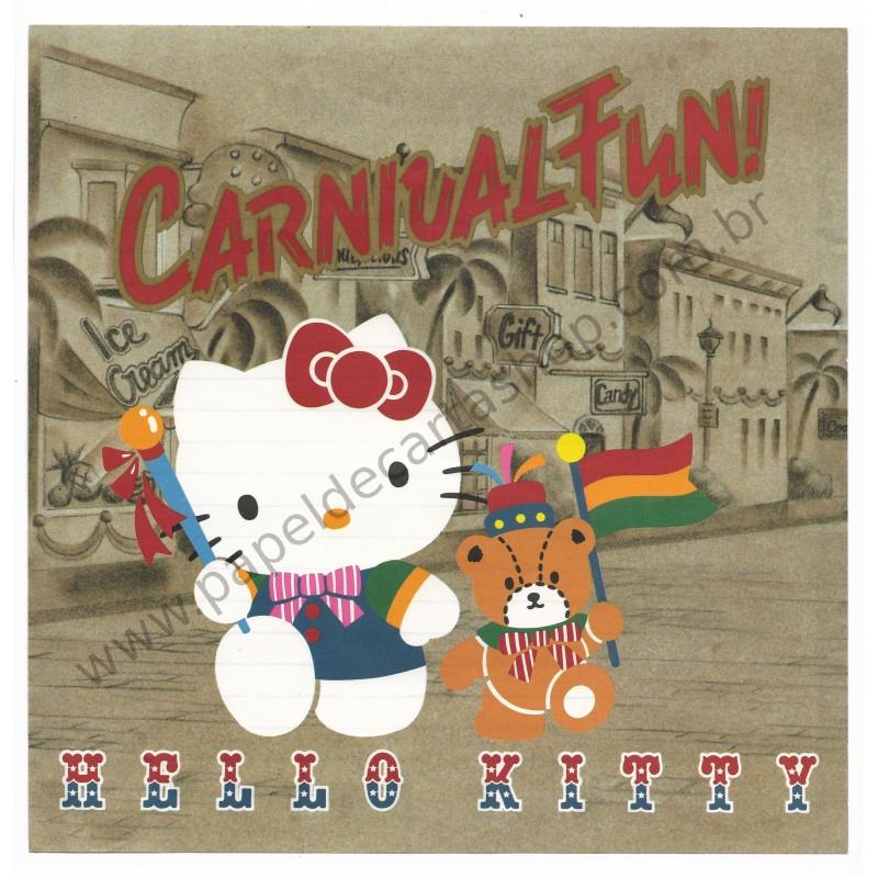 Ano 1988. Conjunto de Papel de Carta Hello Kitty Antigo Carnival Fun (Vintage) Sanrio