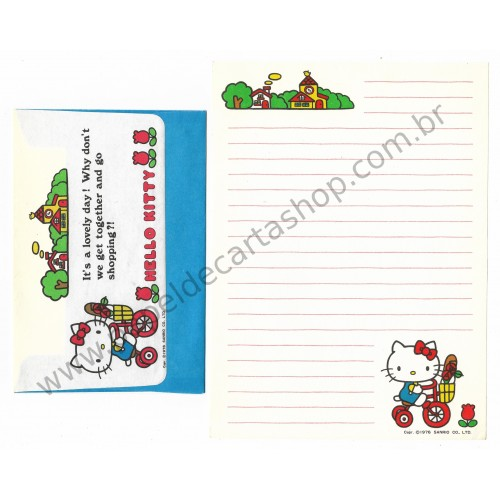 Ano 1976. Conjunto de Papel de Carta Hello Kitty Antigo (Vintage) Go Shopping Sanrio