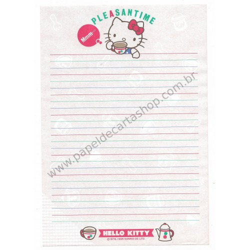 Ano 1985. Kit de 3 Papéis de Carta Hello Kitty Antigo AVULSO Pleasantime (Vintage) Sanrio