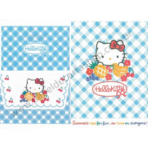 Ano 1996. Conjunto de Papel de Carta Hello Kitty Antigo (Vintage) Fruits Sanrio