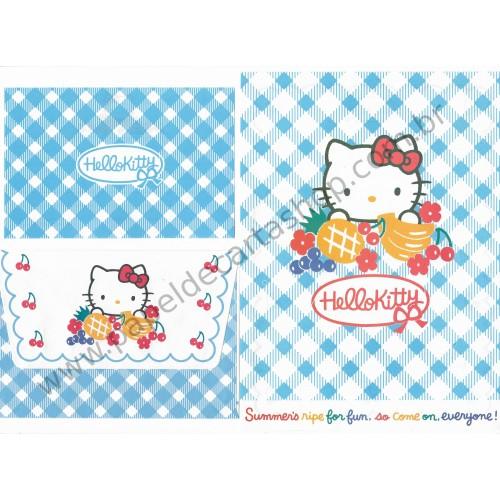 Ano 1996. Conjunto de Papel de Carta Hello Kitty Antigo (Vintage) Fruits Sanrio