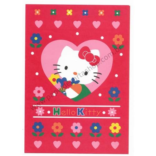 Ano 1997. Conjunto de Papel de Carta Hello Kitty Antigo (Vintage) Flower CVM Sanrio