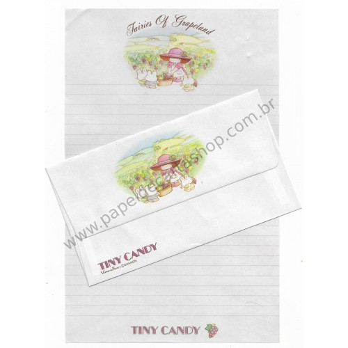 Conjunto de Papel de Carta Antigo (Vintage) Tiny Candy Fairies Of Grapeland - Victoria Fancy Gakken