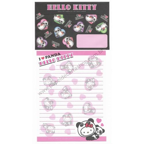 Ano 2011. Conjunto de Papel de Carta Gotōchi Kitty I Love Panda - Sanrio Japão