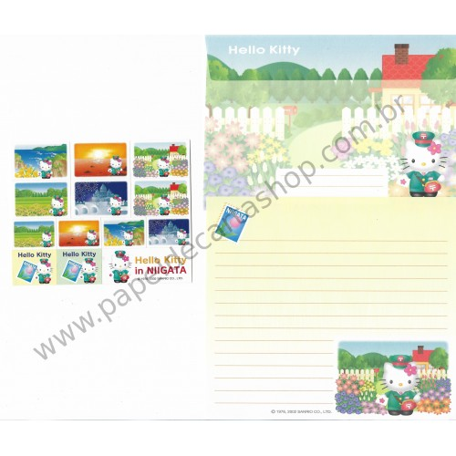 Ano 2002. Conjunto de Papel de Carta Hello Kitty Regional NIIGATA Sanrio