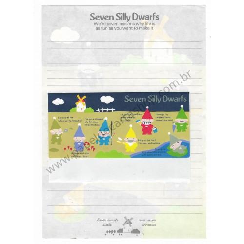 Ano 1979. Conjunto de Papel de Carta Seven Silly Dwarfs Vintage Sanrio