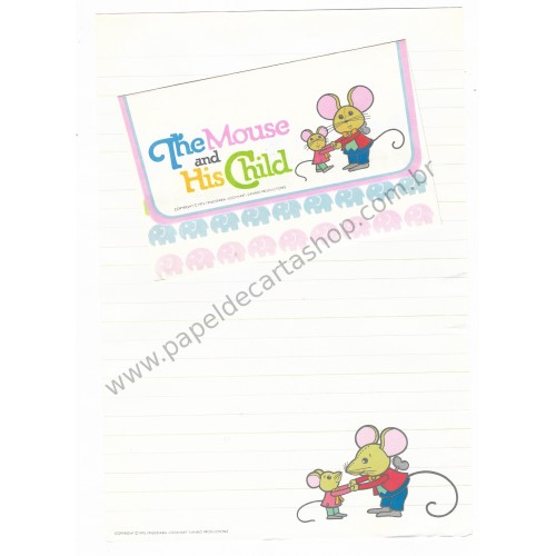 Ano 1976. Conjunto de Papel de Carta The Mouse and His Child Antigo (Vintage) Sanrio Productions