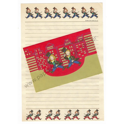 Ano 1984. Conjunto de Papel de Carta Vaudeville Duo CVM Antigo (Vintage) Sanrio