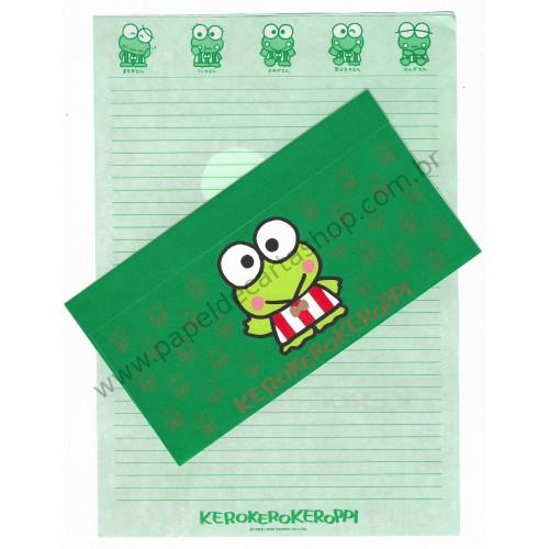 Ano 1990. Conjunto de Papel de Carta Keroppi Antigo (Vintage) Sanrio