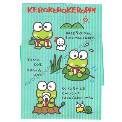 Ano 1989. Conjunto de Papel de Carta Keroppi CAZ Antigo (Vintage) Sanrio