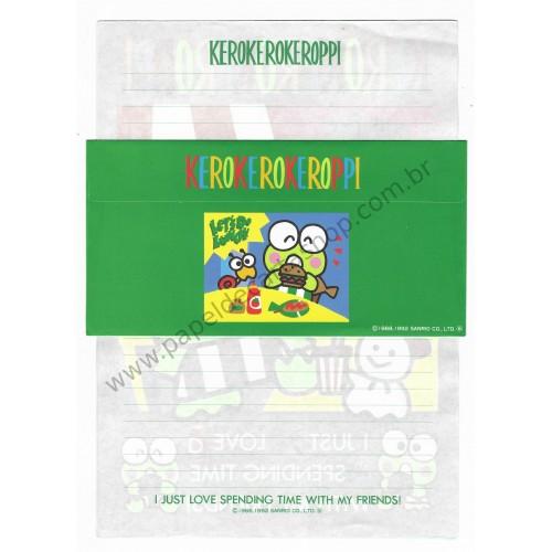 Ano 1992. Papel de Carta Avulso Keroppi VD Antigo (Vintage) Sanrio