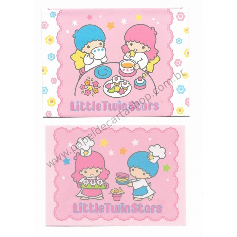 Ano 1997. Conjunto de Mini Papel de Carta Little Twin Stars Sanrio