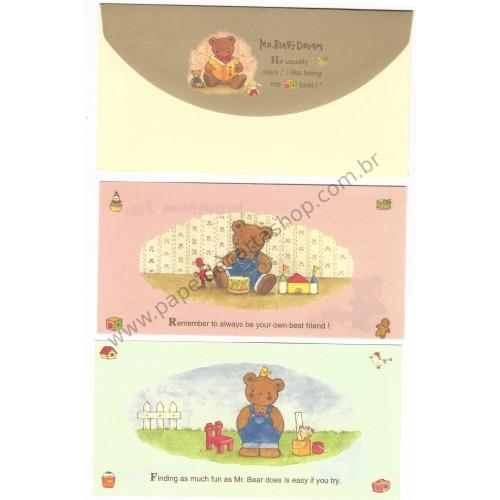 Ano 1995. Conjunto de Papel de Carta Mr Bear's Dream Trio Antigo (Vintage) Sanrio