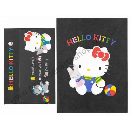 Anos 80. Conjunto de Papel de Carta Antigo Hello Kitty Black
