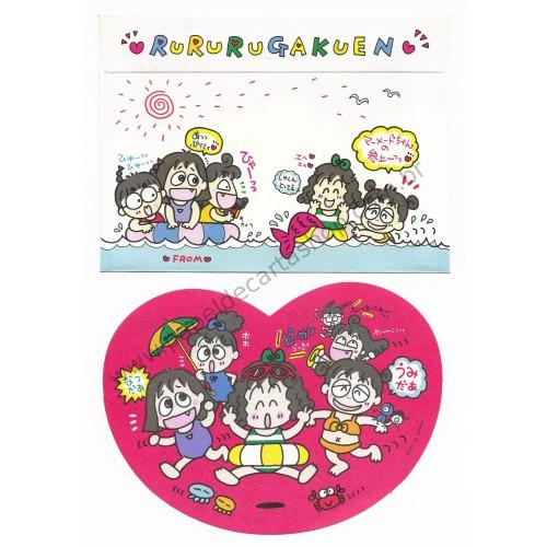 Ano 1992. Conjunto de Papel de Carta RuRuRuGakuen P Antigo (Vintage) Sanrio