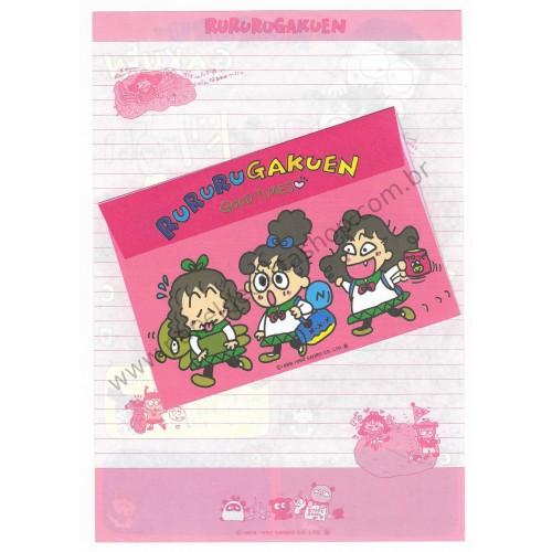 Ano 1992. Conjunto de Papel de Carta RuRuRuGakuen II Antigo (Vintage) Sanrio