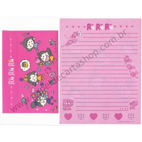 Ano 1995. Conjunto de Papel de Carta RuRuRuGakuen Antigo (Vintage) Sanrio