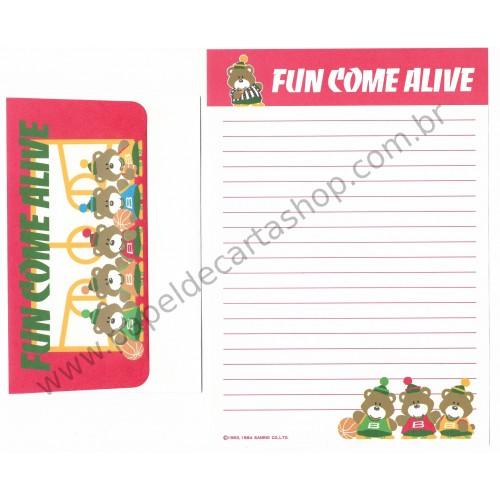 Ano 1984. Conjunto de Papel de Carta Fun Come Alive Vintage Sanrio
