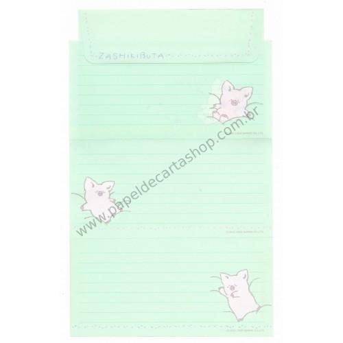 Ano 1989. Conjunto de Papel de Carta Zashikibuta CVD Antigo (Vintage) Sanrio