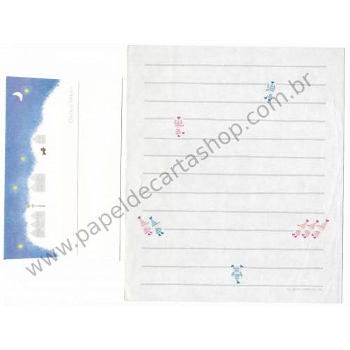 Ano 1977. Conjunto de Papel de Carta Chelsea Stripes Antigo (Vintage) Sanrio