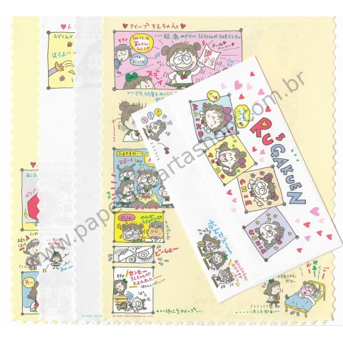 Ano 1993. Conjunto de Papel de Carta RuRuRuGakuen 8 Antigo (Vintage) Sanrio