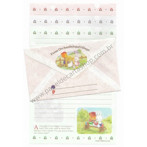Ano 1987. Conjunto de Papel de Carta Little Wonder Story From Orchardslope Village Sanrio