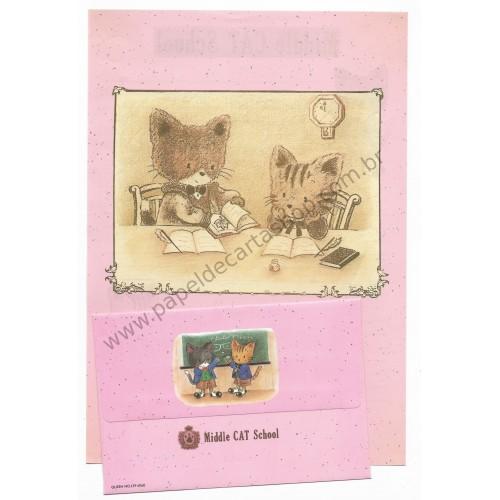 Conjunto de Papel de Carta Antigo (Vintage) Middle Cat School CRS - Japan