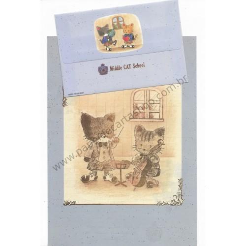 Conjunto de Papel de Carta Antigo (Vintage) Middle Cat School CAZ - Japan