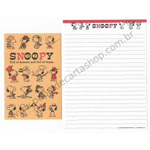 Conjunto de Papel de Carta Snoopy Full of Hopes Peanuts 2014