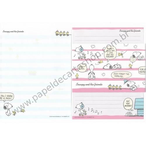 Kit 2 Conjuntos de Papel de Carta Snoopy RAZ Peanuts 2015