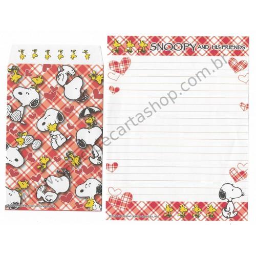 Conjunto de Papel de Carta Snoopy Xadrez VM2 Peanuts