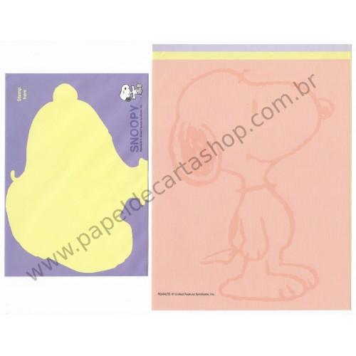 Conjunto de Papel de Carta Snoopy Colors TRIO Antigo (Vintage) - Peanuts