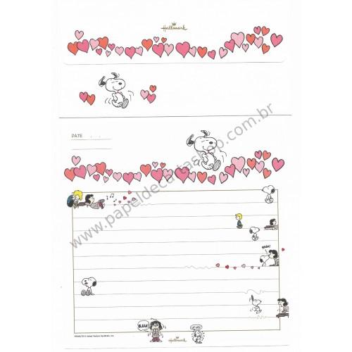 Conjunto de Papel de Carta Snoopy CBR Heart Antigo (Vintage) - Hallmark