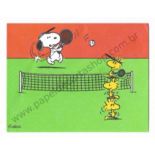Notecard ANTIGO Importado Snoopy Playing Tennis - Hallmark