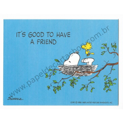 Notecard ANTIGO Importado Snoopy Its Good to Have a Friend - Hallmark