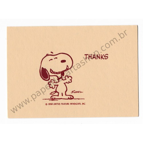 Notecard Cartão ANTIGO Importado Snoopy Thank You (CRM) - Hallmark Cards