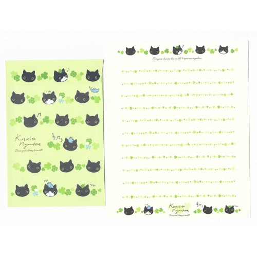 Conjunto de Papel de Carta Importado Kutusita Nyanko Clover 1 - San-X Japan