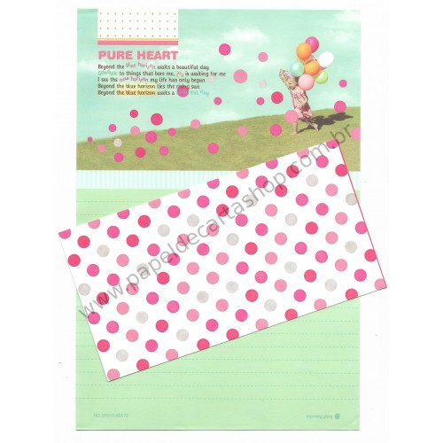 Conjunto de Papel de Carta Importado Pure Heart - Morning Glory