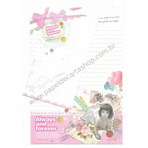Conjunto de Papel de Carta Importado Always and Forever - Morning Glory